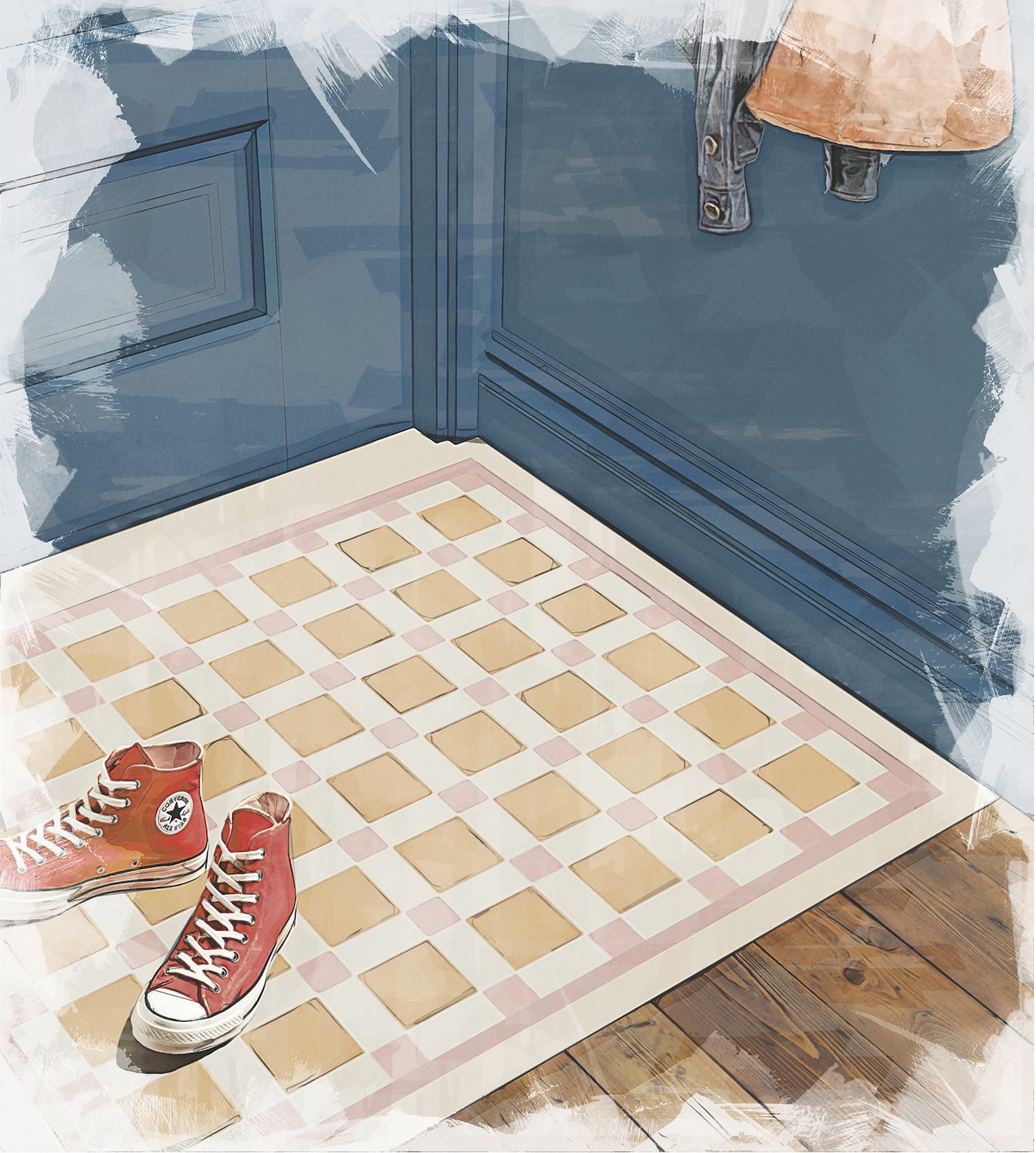 Carnation Pink Old London and Dover White Victorian Floor Tiles from Original Style Mood Board