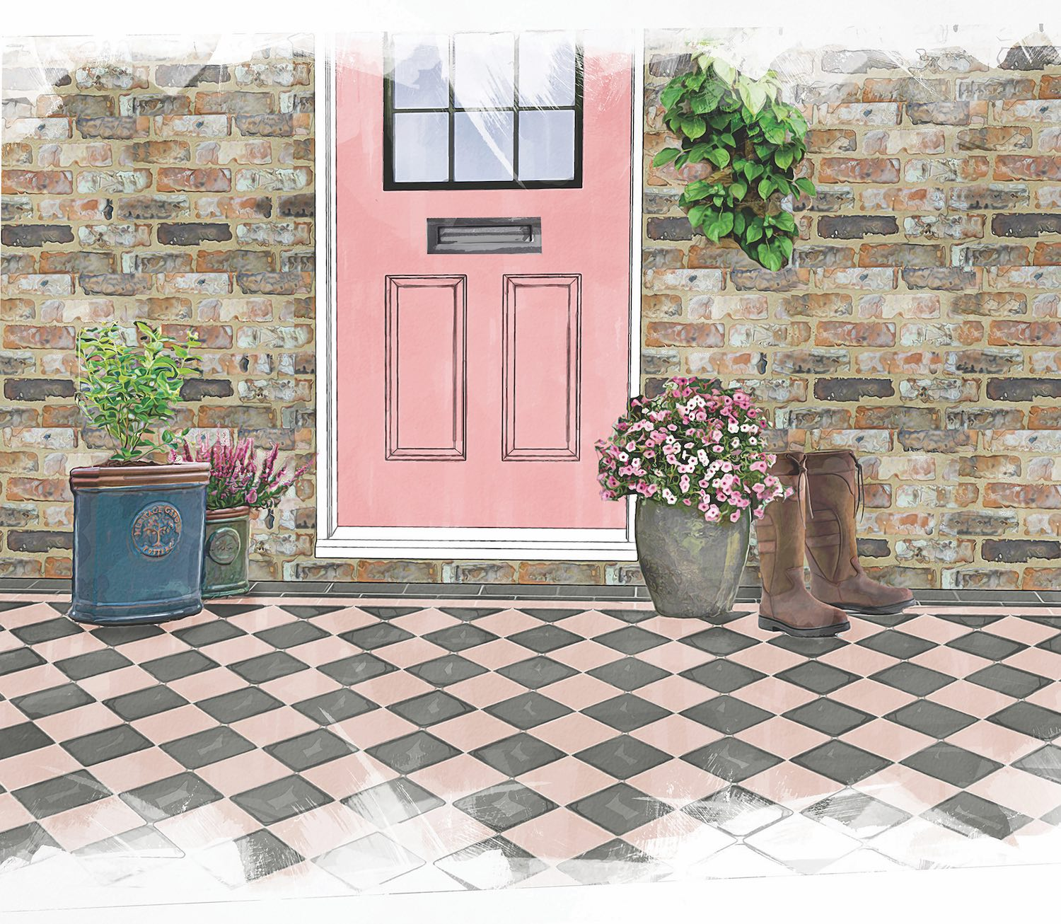 Carnation Pink and Revival Grey Victorian Floor Tiles from Original Style
