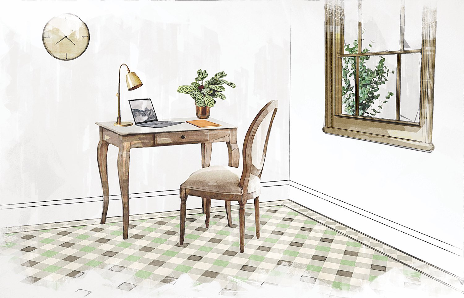 Spring Green Revival Grey and Chester Mews Victorian Floor Tiles from Original Style