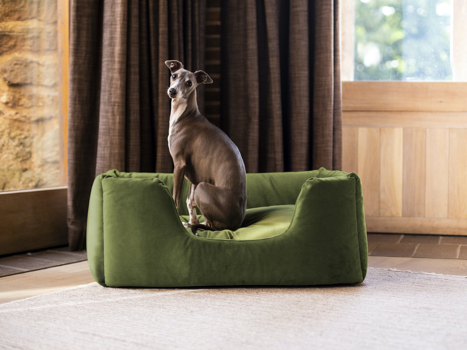 Charley Chau Deeply Dishy Luxury Dog Bed in Velour Contrast Leaf Lime