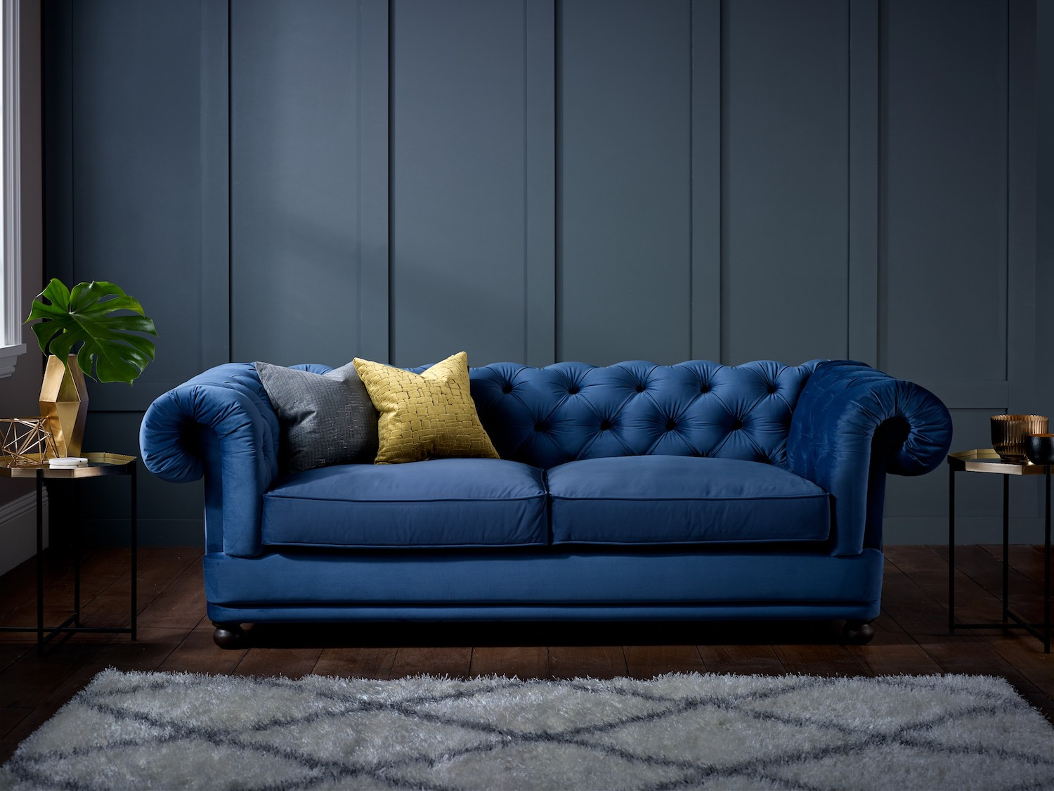 Living It Up Cara Sofa upholstered in Regency Blue Velvet